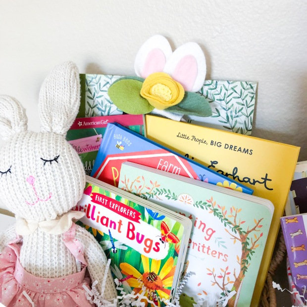 easter books in a basket